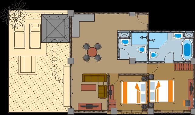 2 chambres vue jardin