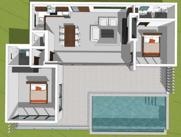 FAIRWAY2 BEDROOMS - 3D